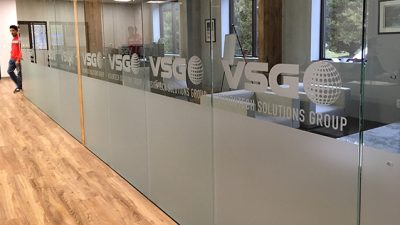 Office Window Glass with frosted etched vinyl